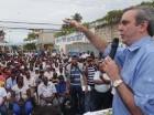 Luis Abinader habla durante un acto en San Pedro de Macorís.