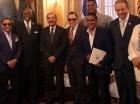 Merengueros visitan al presidente Danilo Medina en el Palacio Nacional.