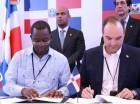 José del Castillo Saviñón, ministro de Industria y Comercio de RD y Wilson Laleau, ministro del Comercio y de la Industria de Haití.