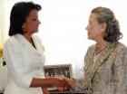 La primera dama, Cándida Montilla de Medina y la esposa del secretario general de la Organización de las Naciones Unidas (ONU), Yoo Soon-taek.