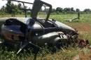 Estado en que quedó el helicóptero en que viajaba el jefe del Ejército y dos personas más luego de caer a tierra. Todos sobrevivieron.