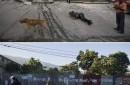 El  Twins Market el dia que se vino abajo durante un terremoto que golpeó Puerto Príncipe, la capital de Haití; y una imagen tomada en el mismo lugar cinco años más tarde, el 10 de enero de 2015, donde solo hay una valla metálica.