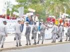 Los reeleccionistas se manifestaron frente al Congreso Nacional.
