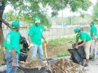 Parte de los integrantes de las brigadas que participarán en la labor de limpieza con la recolección de desechos sólidos y control de maleza en la ciudad de San Cristóbal.